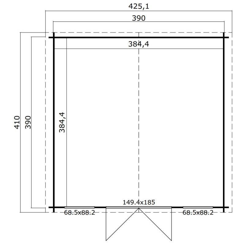 nákres - zahradní chatka 28mm